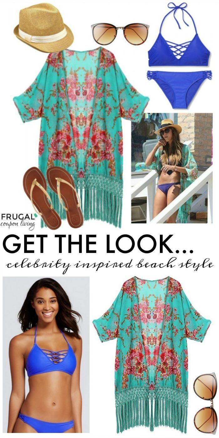 Frugal Fashion Friday Celebrity Inspired Beach Style on Frugal Coupon Living. Floral kimono swimsuit cover up with fedora hat.