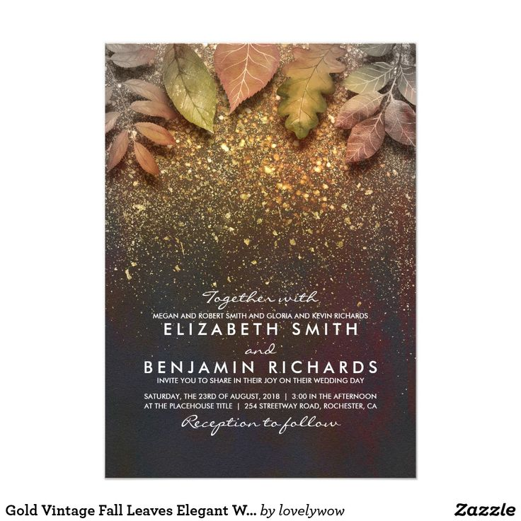inexpensive wedding shower invitations%0A Gold Vintage Fall Leaves Elegant Wedding Card Pastel fall leaves and gold  glitter shine romantic vintage wedding invitations