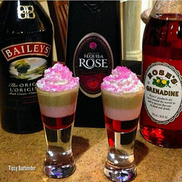 Credit: instagram @tipsybartender Bottem layer: Grenadine Middle layer: Tequila Rose Top layer: Baileys