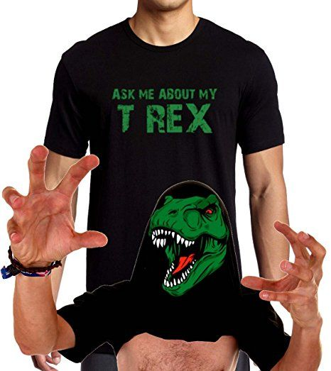 Ask Me About My T-Rex T-Shirt Funny Flip Up T Rex Shirt XS-3XL (XS, Black)