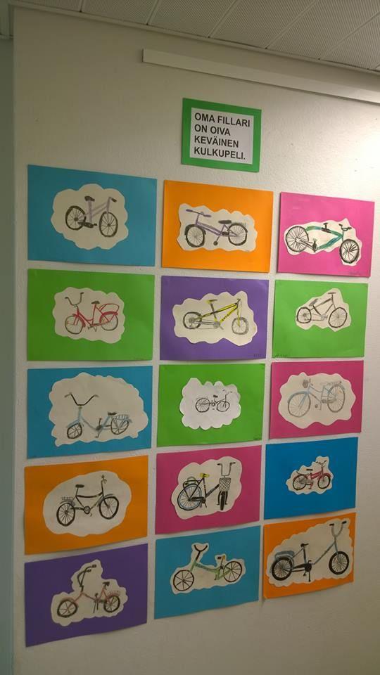 """""""Polkupyörä"""" (2.lk) Tarkan piirtämisen harjoitus. Alkuperäinen idea Pinterestistä. (Alkuopettajat FB -sivustosta /Hanne Blomberg)"""