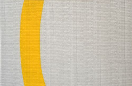 Single Yellow Line | Stamp Paintings | Artwork | Abdulnasser Gharem