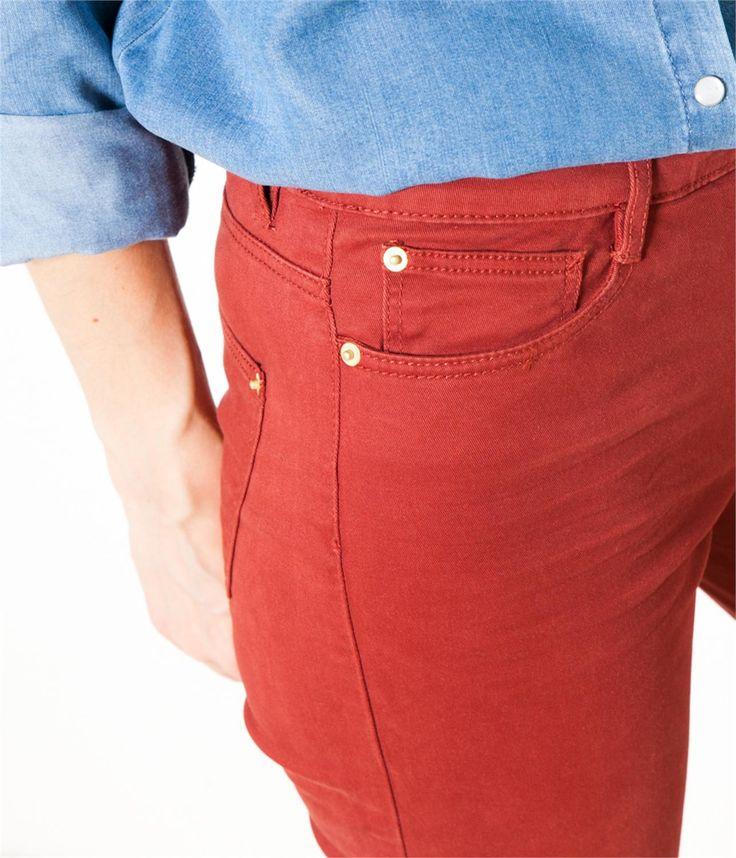 Pantalon slim uni rouge brique Camaïeu 2016
