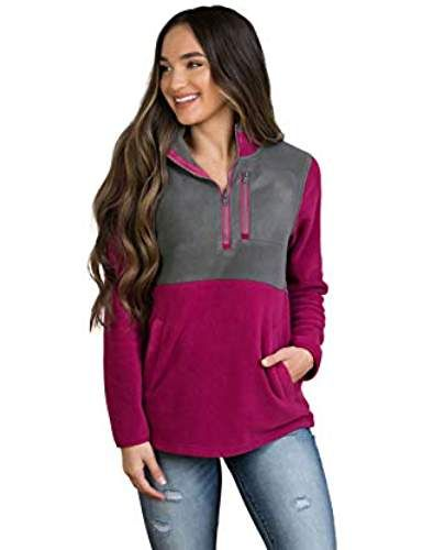 726a456ba86 Nursing Fleece Jacket- 1/4 Zip Nursing Top - Raspberry Pink and Gray#womens  t shirts#t shirts outfit#womens graphic t shirts#t shirts for women#t shirt  ...