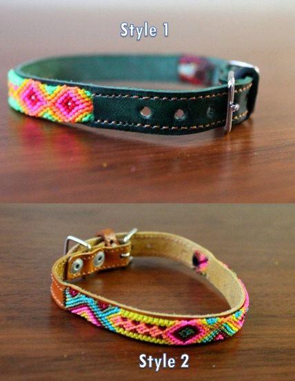 Ces fabriqués à la main et aux couleurs vives colliers sont ornés de motifs ethniques (macramé)  Chaque collier est tout à fait unique.  Votre chat / chien appréciera son collier vraiment originale et colorée.   TAILLE :  -LEGHT: 8,46- 10 / 21,5-25,5 cm (ce qui signifie que le premier trou de la bague vous donnera une mesure de 8,46/ 21,5 cm, et le dernier trou de 10 / 25,5 cm de diamètre)  -Largeur: 0,5/ 1,3 cm  -5 trous  -Articles en cuir véritable peau de vache, végétales tanné * Cuir…