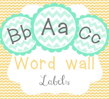 Chevron Word Wall Labels - Green and Grey