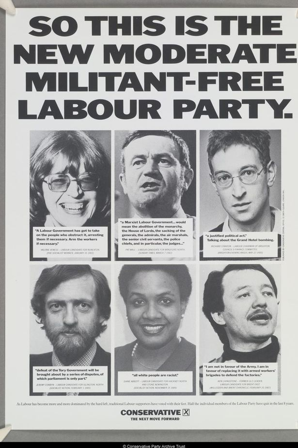 Attack: A Tory poster blasts his views in 1987, along with Ken Livingstone and Diane Abbott