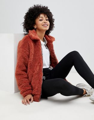 29ee774c64a6 New Look teddy faux fur bomber jacket in rust | F A S H I O N | Fur ...