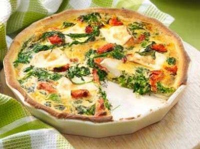 Quiche met spinazie en geitenkaas is een lekker recept en bevat de volgende ingrediënten: 1 rol kruimeldeeg, 300 g bladspinazie (diepvries), 2 tenen knoflook, 50 g tomaat, zongedroogde (in olie), 200 ml room, 4 eieren, 150 g geitenkaas (bûche), olijfolie, peper, zout