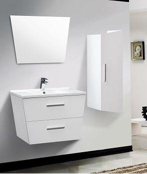 Meubles, Meuble Simple vasque, Meuble SDB simple vasque suspendu, Meuble simple vasque Trapezo 75cm Blanc SANITAIRE.FR 0042981