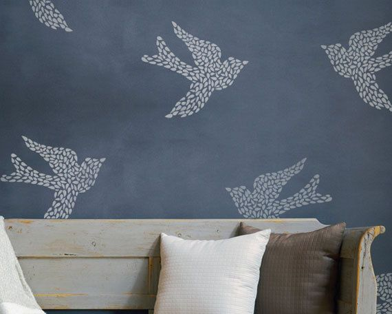 Large Bird Fly Away With Me Wall Motif by royaldesignstencils