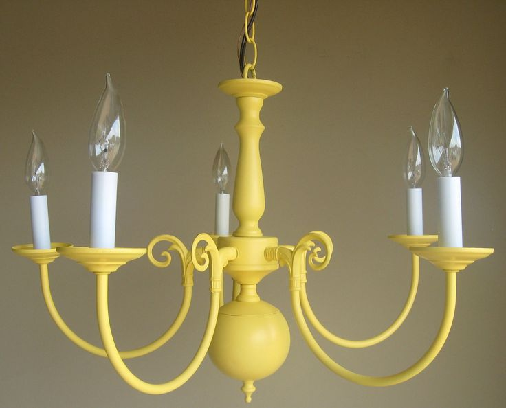 Yellow Chandelier. Rustoleum Summer Squash