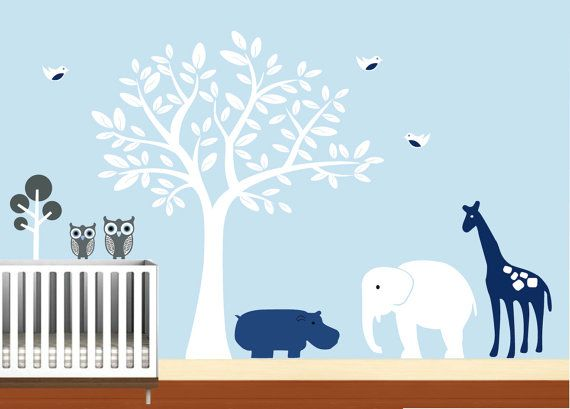 Baby Boys Wall Decal Nursery Sticker Safari With By NurseryWallArt, $99.99