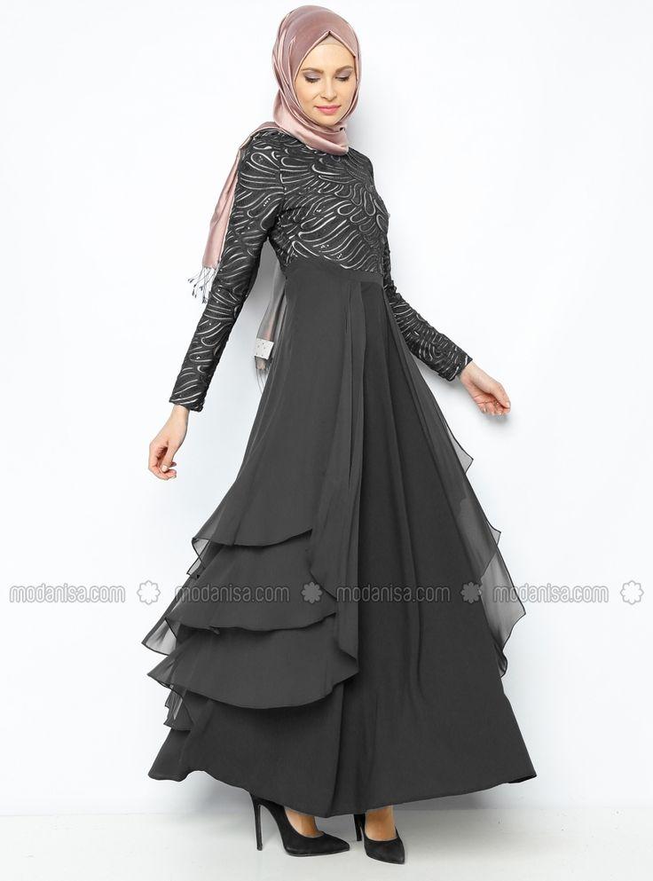 Sequin Detailed Evening Dress - Black - Esswaap