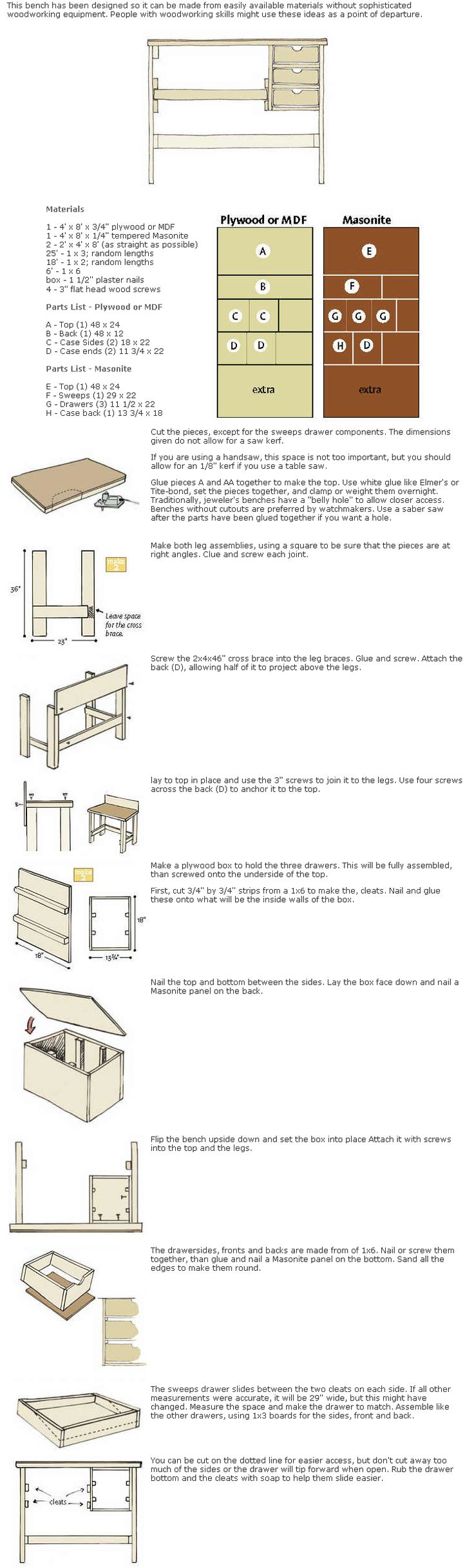 Building your Own Basic Jewelers Bench « Artbyhandz's Place: Benches Manual, Building, Basic Jewels, Jewelry Benches, Benches Tutorials, Jewels Benches Us, Artbyhandz Places, Basic Benches, Benches Us Pallets