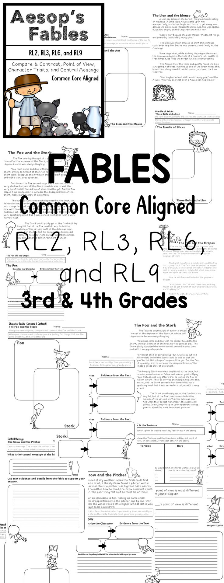 Fables {Common Core Aligned} Compare & Contrast, Central