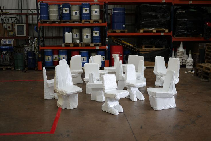 XL Poly Table & 18 Scrap Poly Chairs by Max Lamb | Gessato Blog