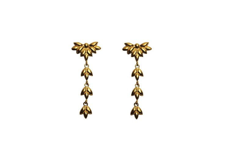 Foliage earrings; Material: sterling silver, vermeil
