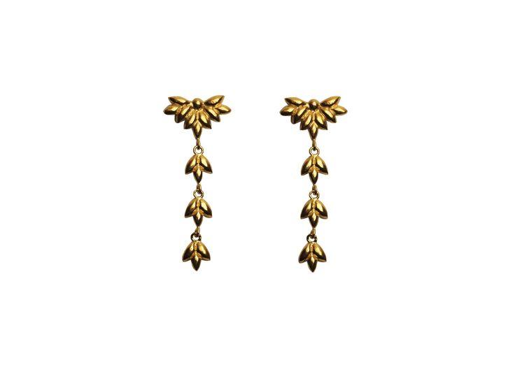 Foliage earrings; Material: sterling silver, vermeil