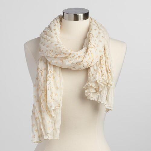 One of my favorite discoveries at WorldMarket.com: Ivory and Gold Scarf