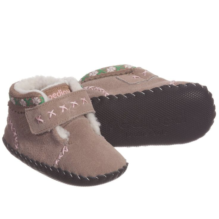 Pediped Girls Brown Suede Leather 'Rosa' Pre-Walker Boots  at Childrensalon.com