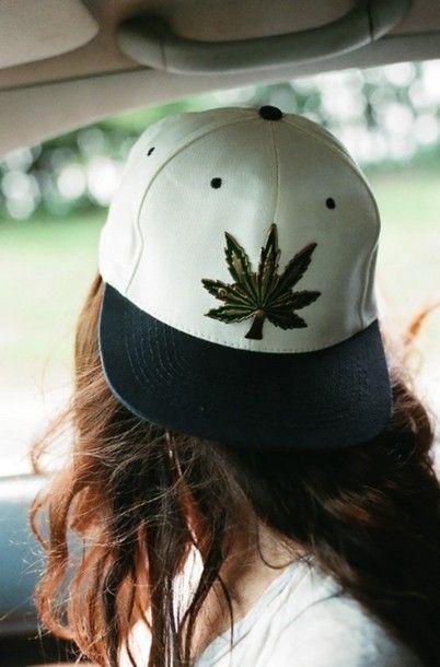 marijuana, weed, cap, snapback, black and white, white hat | Wheretoget.it