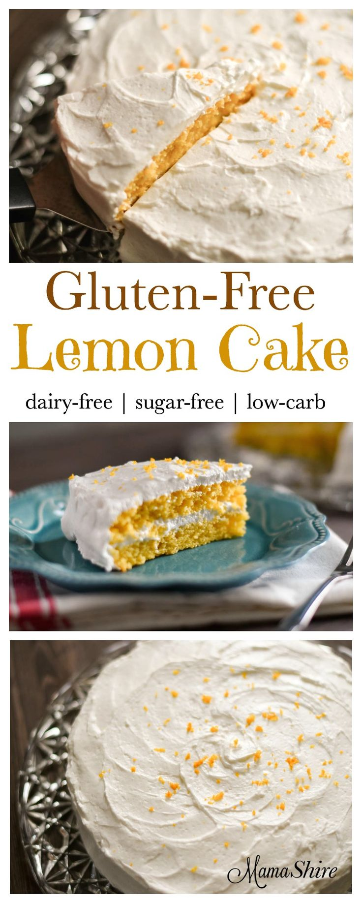 Gluten-Free Lemon Cake made with almond and coconut flour. It's dairy and sugar free. Trim Healthy Mamas this is an S.