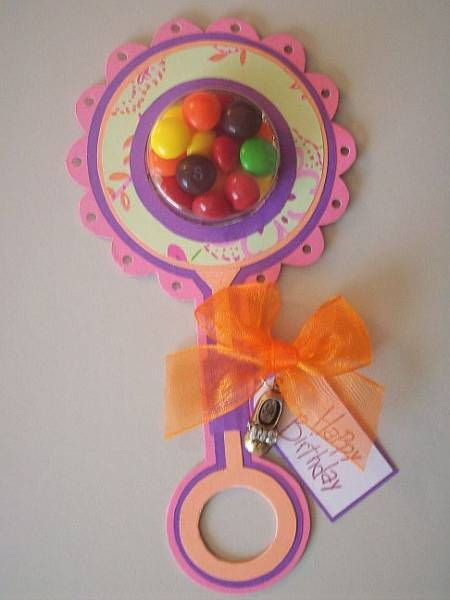 Baby Gift Bingo Game Prize A cute homemade paper baby rattle filled with M M 39 s Baby