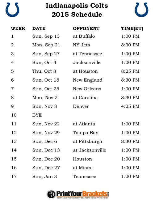 Printable Indianapolis Colts Schedule - 2015 Football Season