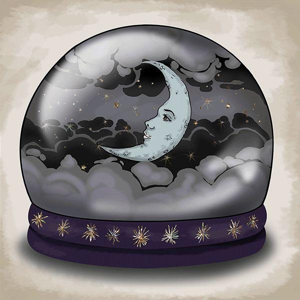 Luna en esfera de nieve
