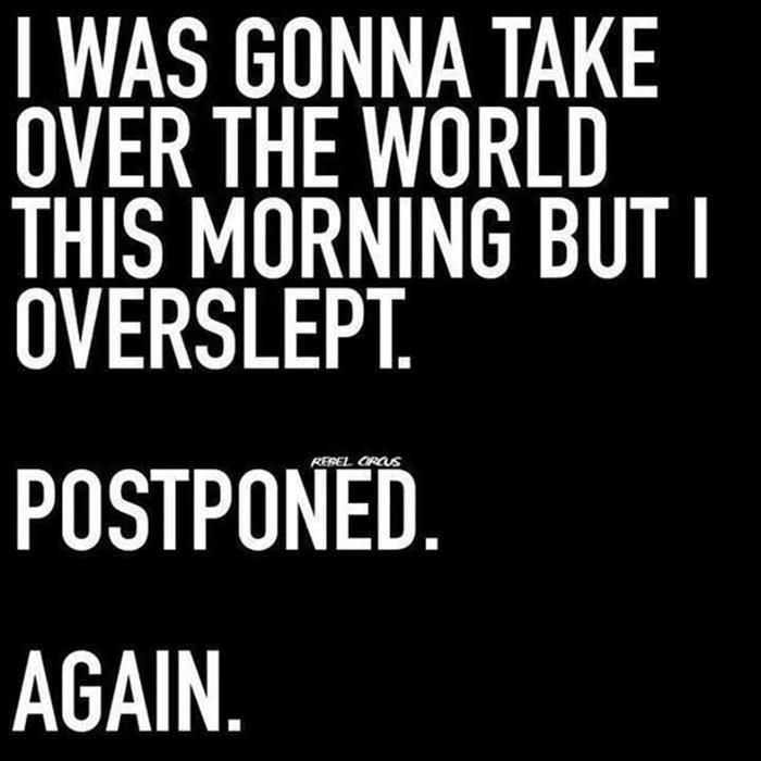 I was gonna take over the world this morning, but I overslept. Postponed. Again