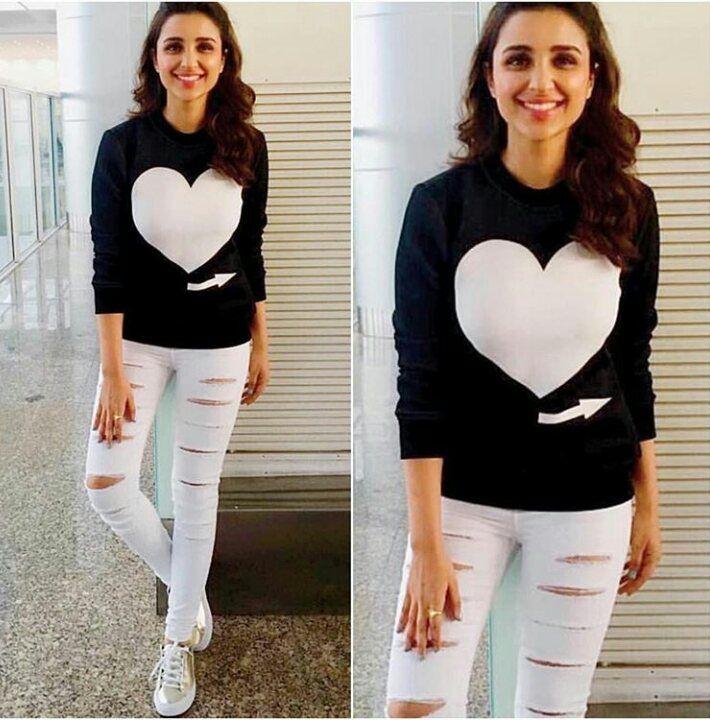 Parineeti Chopra rocks a monochrome casual style. Those toned legs though! -Your Glam Pal, Srishti #parineetichopra #monochrome #blackandwhite #casualstyle #glamoursaga