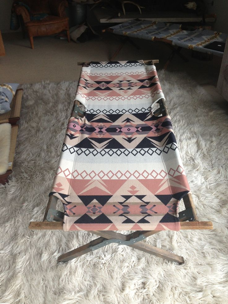 Vintage Indian Cot - Pink Black Tan White Pendleton Blanket Vintage Military Wooden Cot - super sturdy