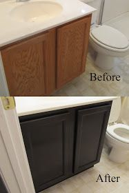 DIY stain bathroom vanity tutorial. Minimal sanding- just to texture the surface for stain! Gel stain and polyurethane