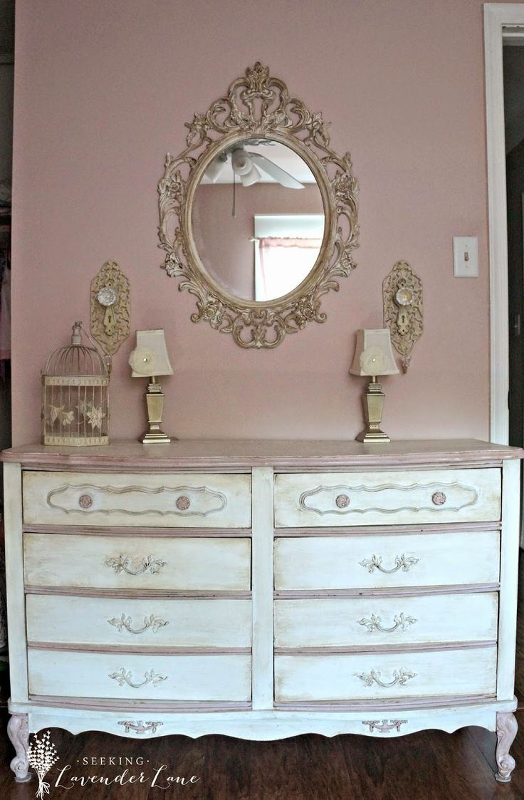 Seeking Lavender Lane: Vintage French Princess Room Annie Sloan white and Antoinette chalk paint on trim with dark and clear wax.