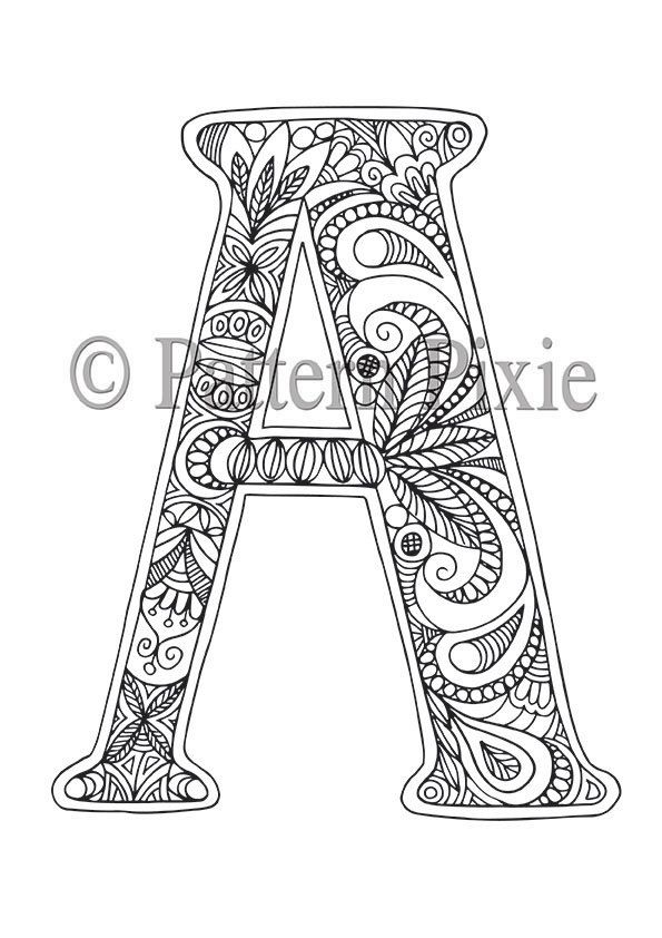 Adult Colouring Page Alphabet Letter A | Etsy | Lettering ...