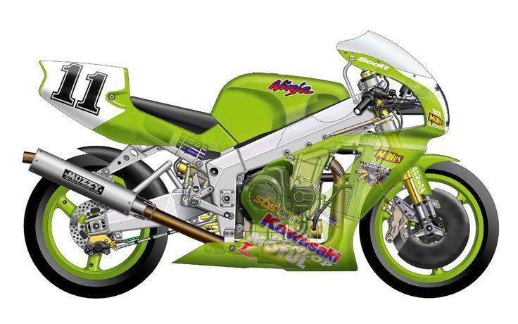 Kawasaki ZXR750R Superbike - cutaway view