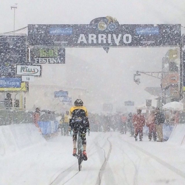 At the finish of Stage 5 of the 2015 Tirreno-Adriatico. (via @laurens_ten_dam)
