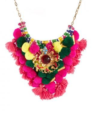 ♥ pom pom ♥ diy #diy #necklace #neon #pink