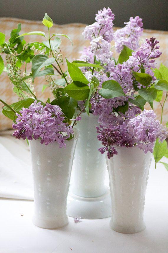 Vintage Milk Glass Flower Vases Hobnail & Teardrop by hipandcrafty, $16.00