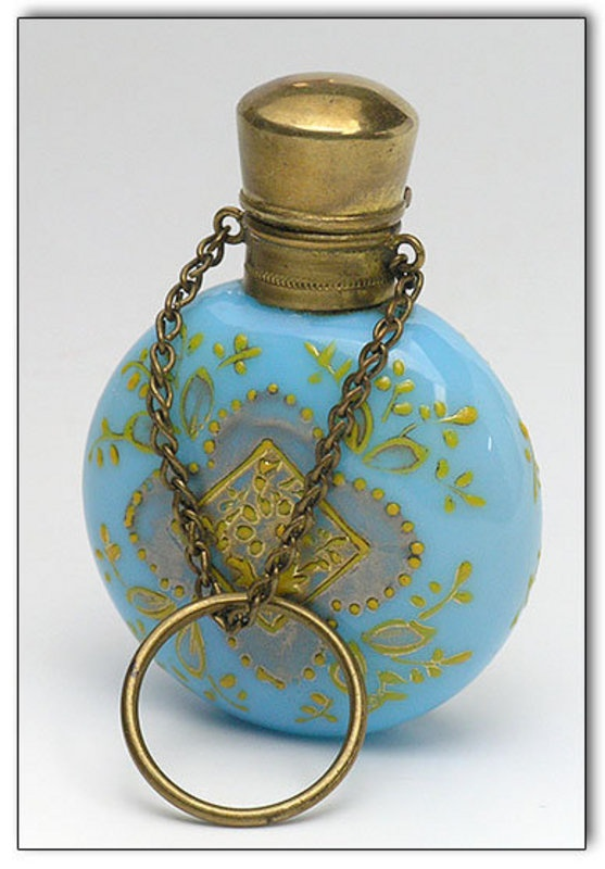 this is an Antique Chatelaine Perfume Bottle/ Turquoise Glass