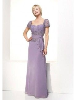 A-Line Square Neckline Floor-Length Chiffon Mother of the Groom Dress With Lace
