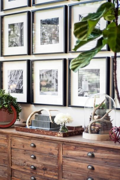 Black and White Gallery Wall Above Wood Dresser