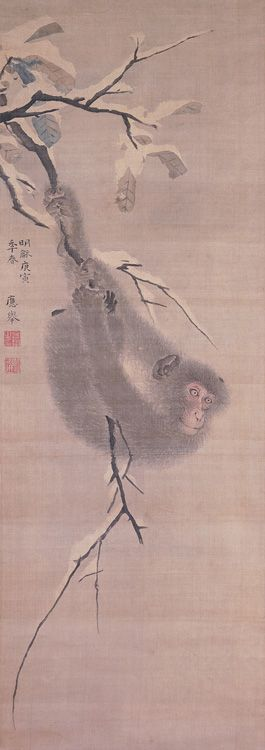 Monkey hanging from a tree 猿図 Creator/Contributor: Maruyama, Ōkyo, 1733-1795, Artist 1770 Contributing Institution: UC Merced, Library and Special Collections