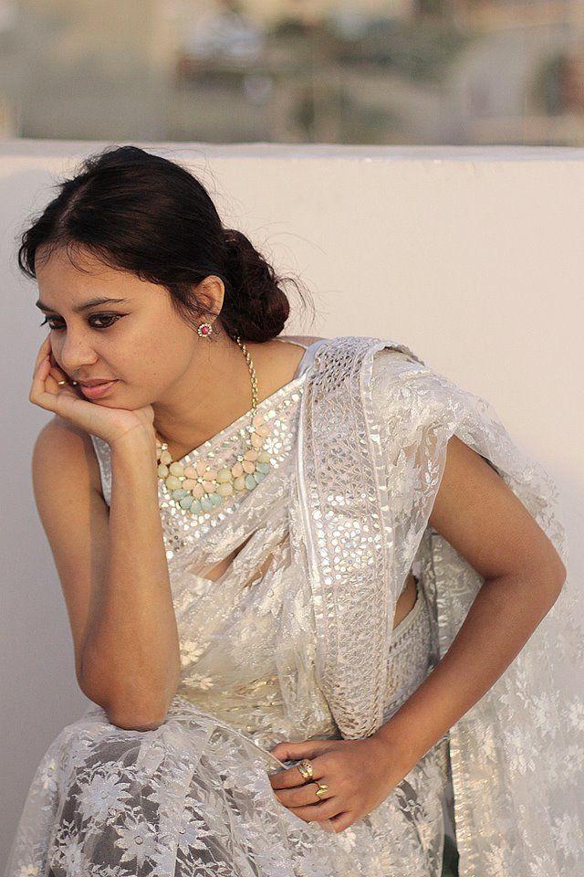 White Net Saree with Silver Gota Work