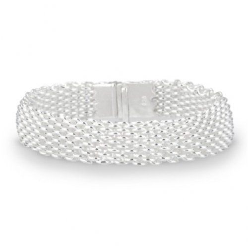 Bling Jewelry Sterling Silver Cuff Mesh Bracelet 7.5 Inch Bling Jewelry. $199.99. Fits up to 7.5 inch wrist. box-with-tongue-and-safety. Cuff Bracelet. .925 Sterling Silver. Weighs approximately 22 grams. Save 52% Off!