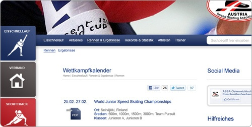 Webdesign für ASSA Austrian Speedskating Association (Österreichischer Eisschnelllauf Verband) created by Grafikatur Media http://www.assa.or.at
