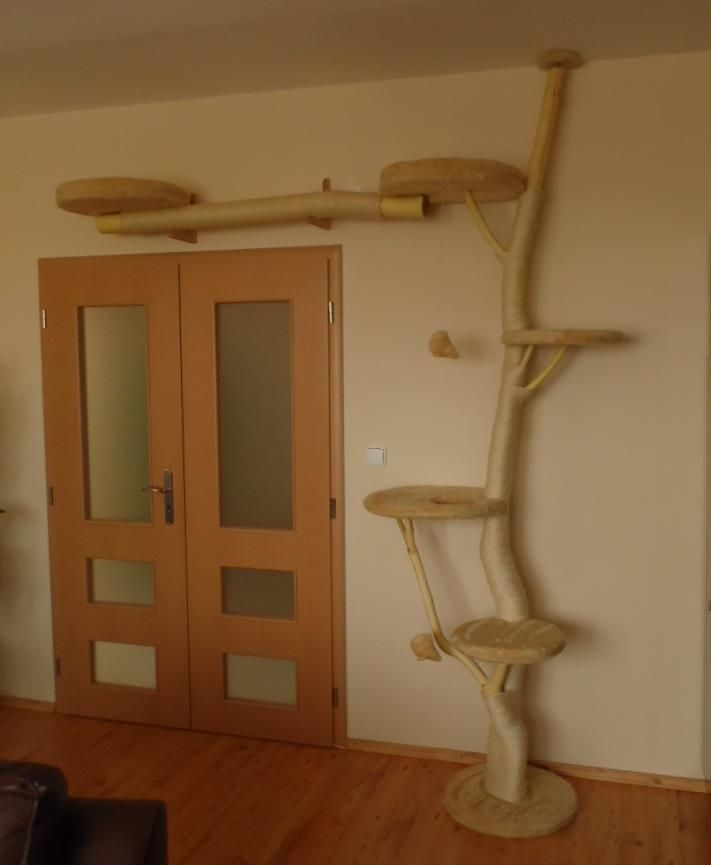 DIY Cat Tree. Kitty totally needs a small one of these! I'd paint the wood to match the room...and incorporate a bed.