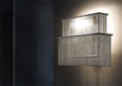 luminara italy | shine chain suspended lamp  Suspended lamp, in stainless steel and beaded steel chains, with internal frosted pyrex diffuse...
