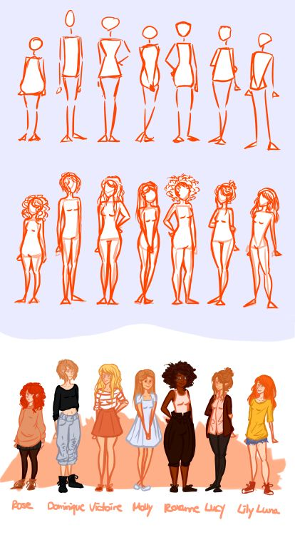 I tried to practice using some different body shapes and heights, because I…